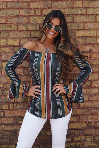 Floral and Stripe Jersey Top