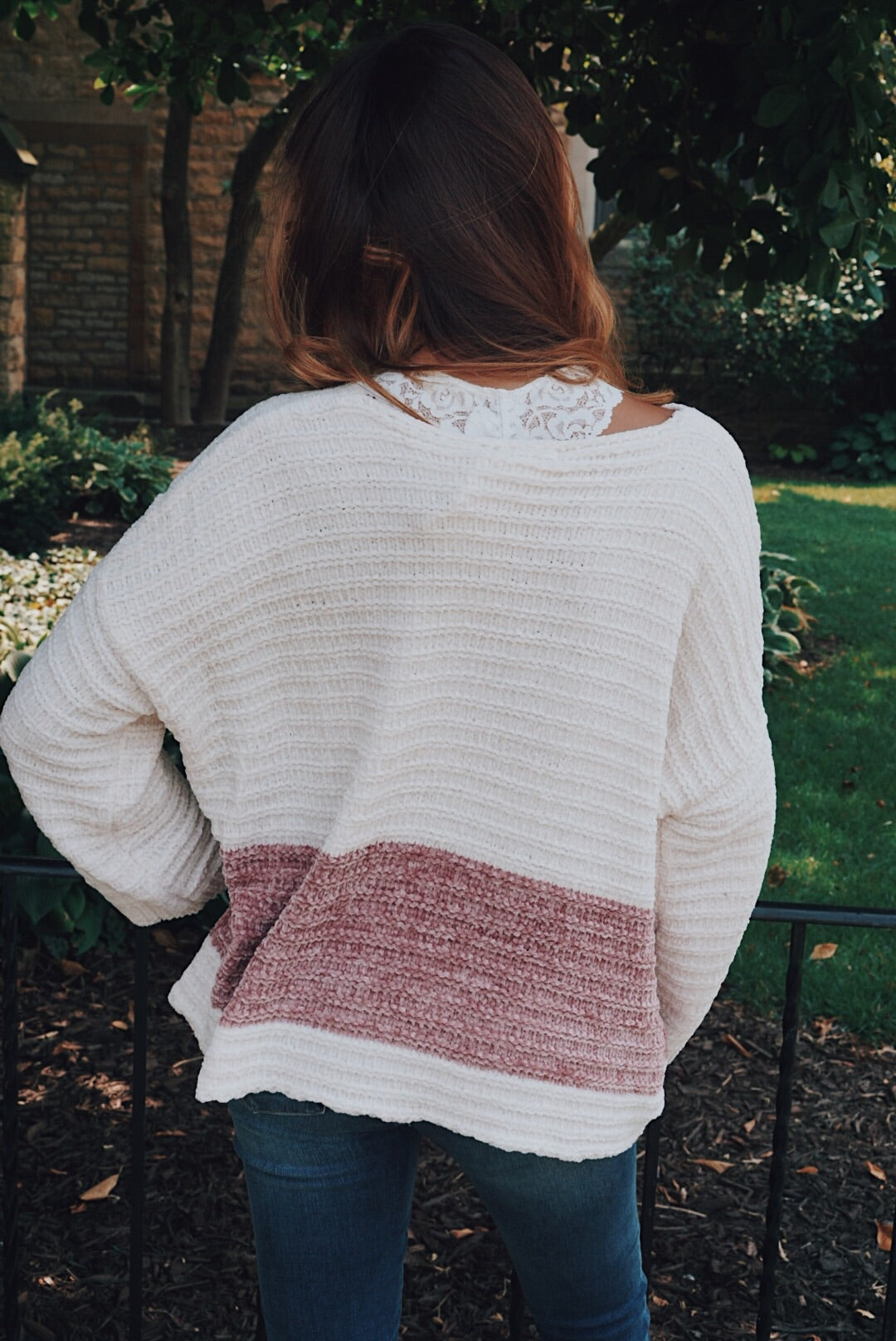 Chenille Cable Stripe Pullover Sweater