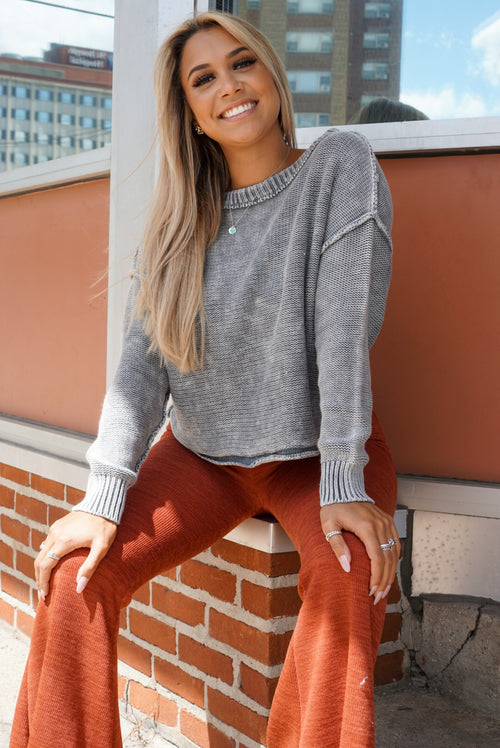 Easy To Love Charcoal Sweater