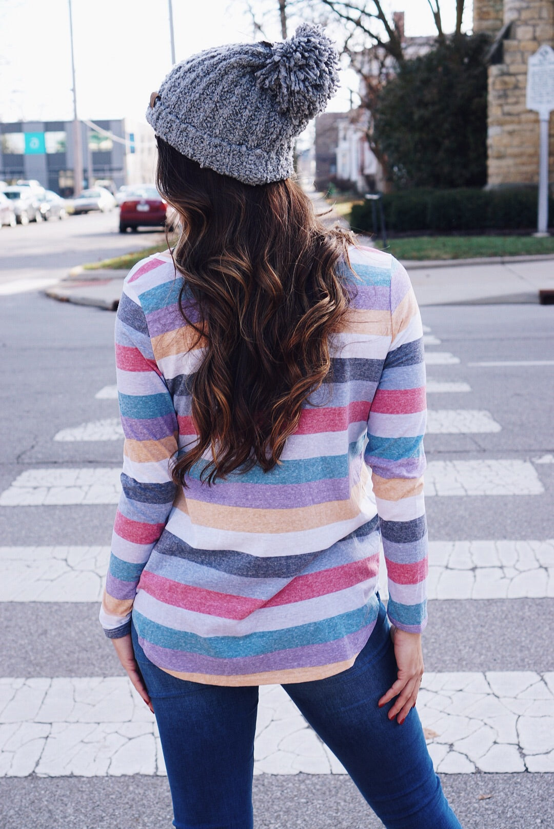 Multi Striped V-Neck