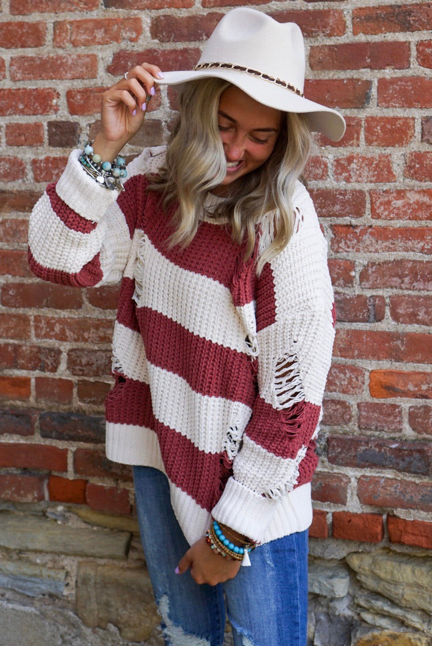 Riley Brick Distressed Sweater