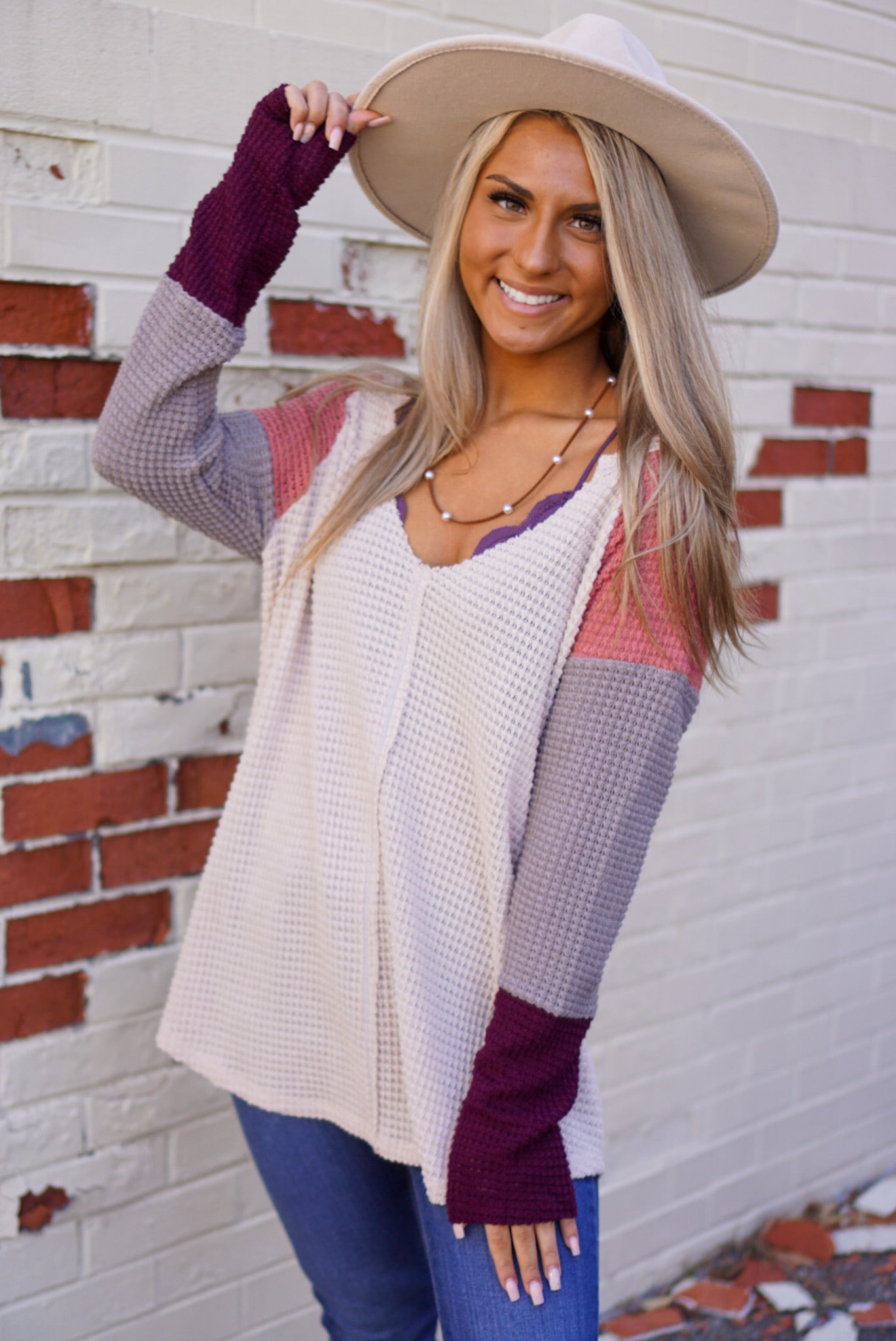Cora Oatmeal Color Block Thermal