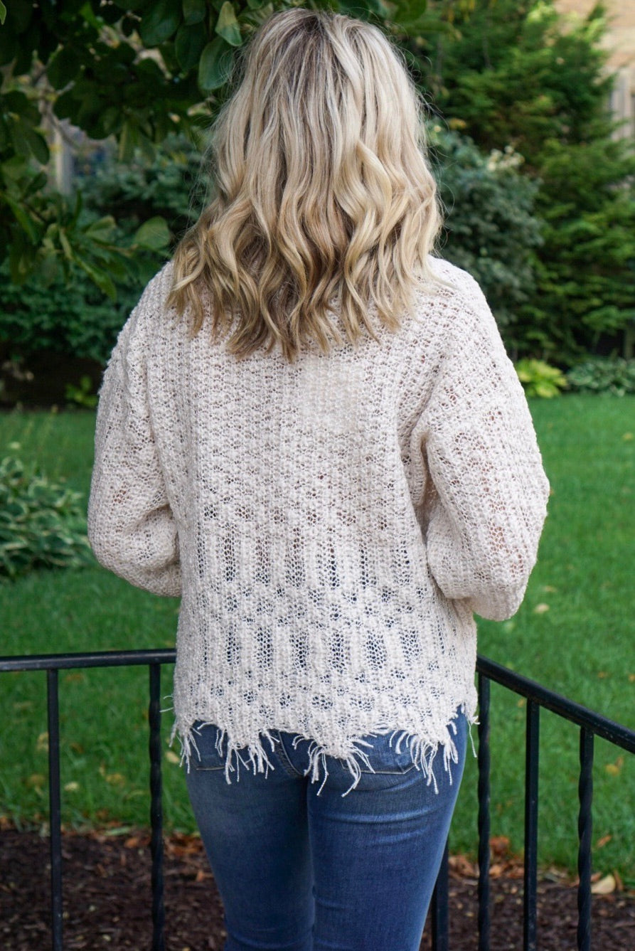 Vanessa Oatmeal Distressed Sweater