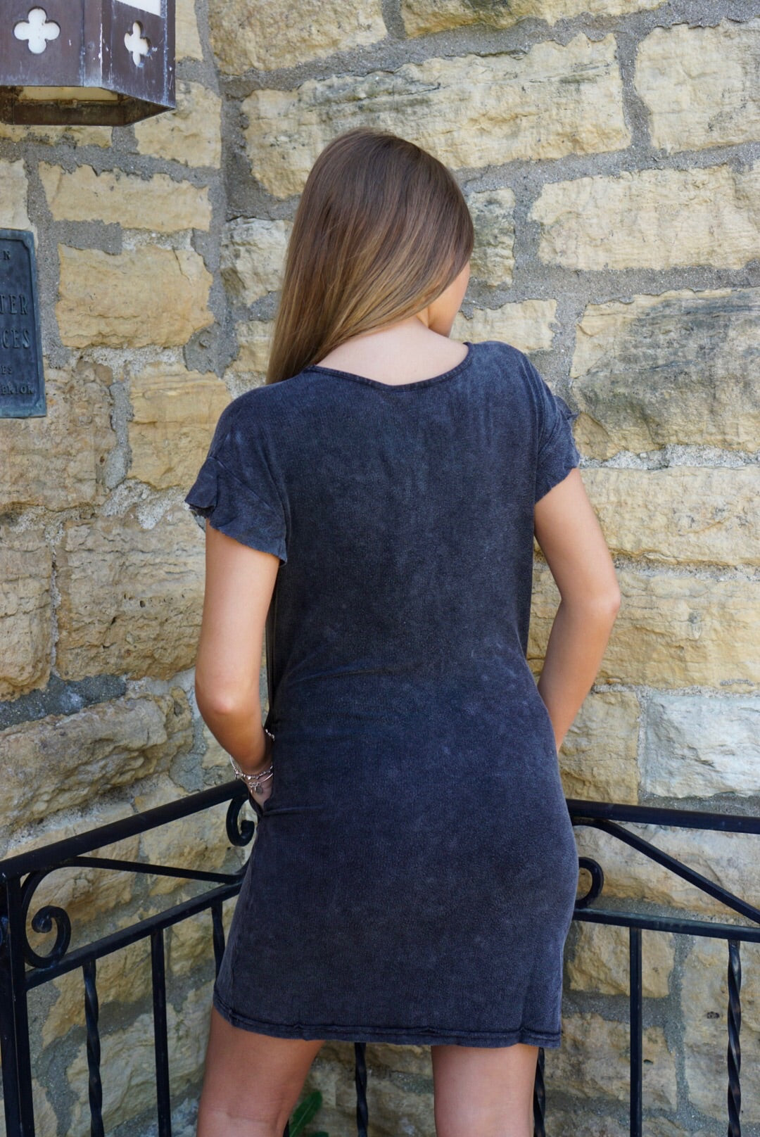 Black Mineral Wash Dress