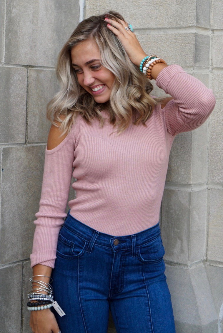 Claudia Blush Cold Shoulder Top