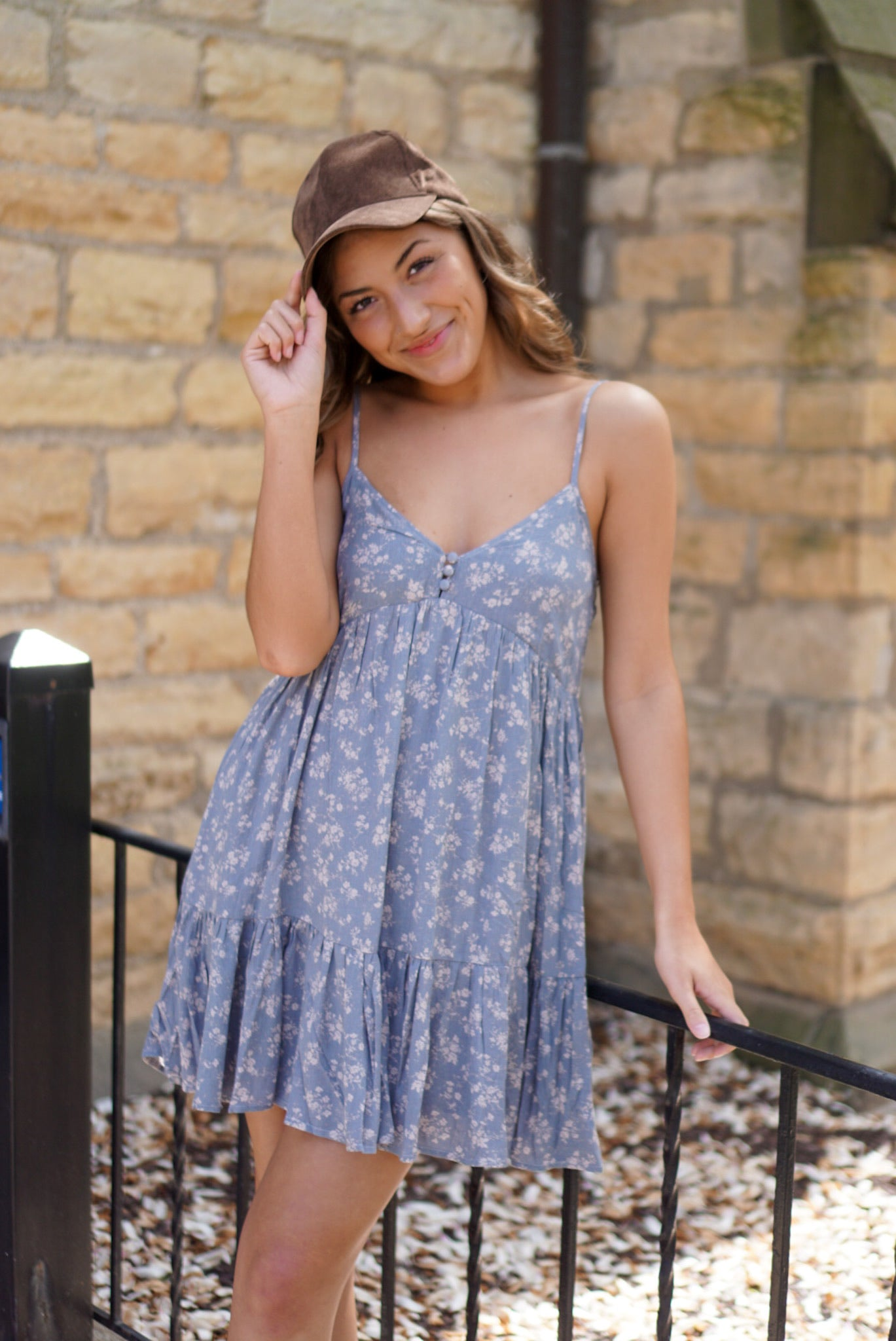 Sweeter Than Honey Dusty Blue Mini Dress