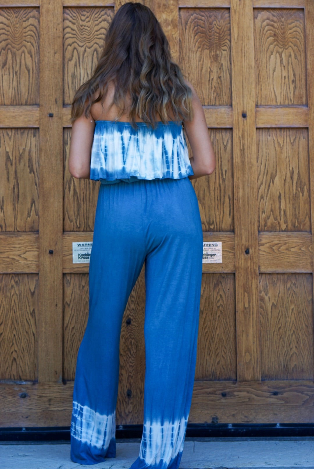FINAL SALE Blue Tie Dye Jumpsuit