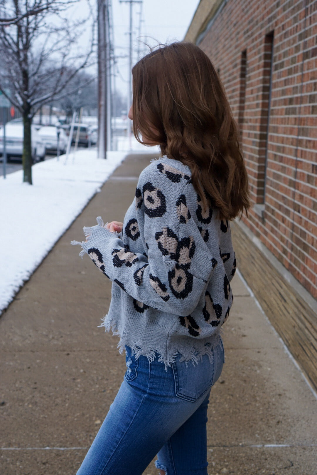 Southport Grey Leopard Sweater