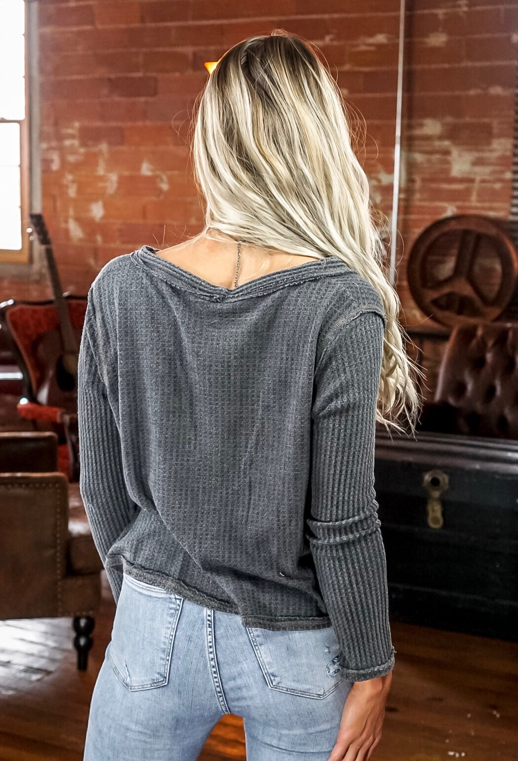 Charcoal Washed Button Thermal