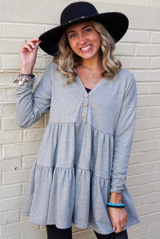 Grey Waffle Knit Contrast Top