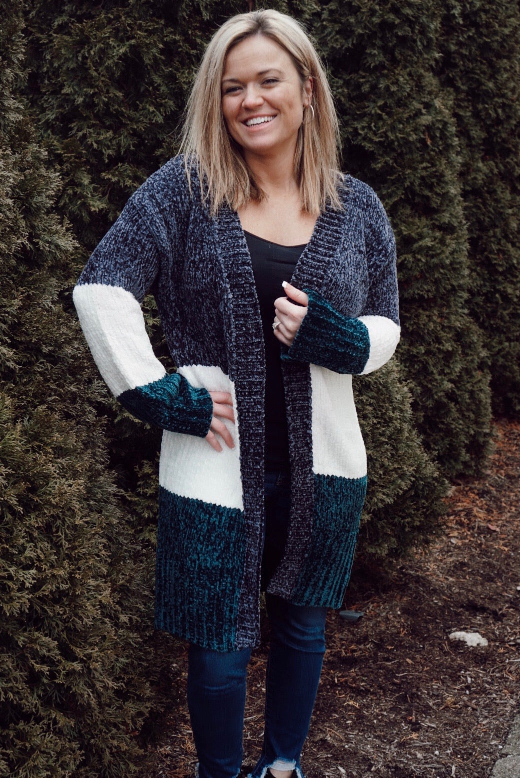 Wendy Charcoal Color Block Cardigan