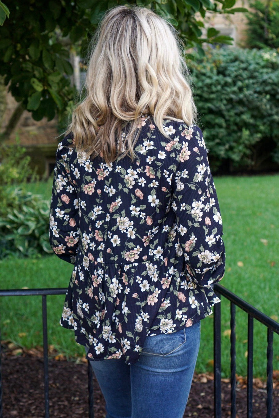 Ivy Navy Floral Top