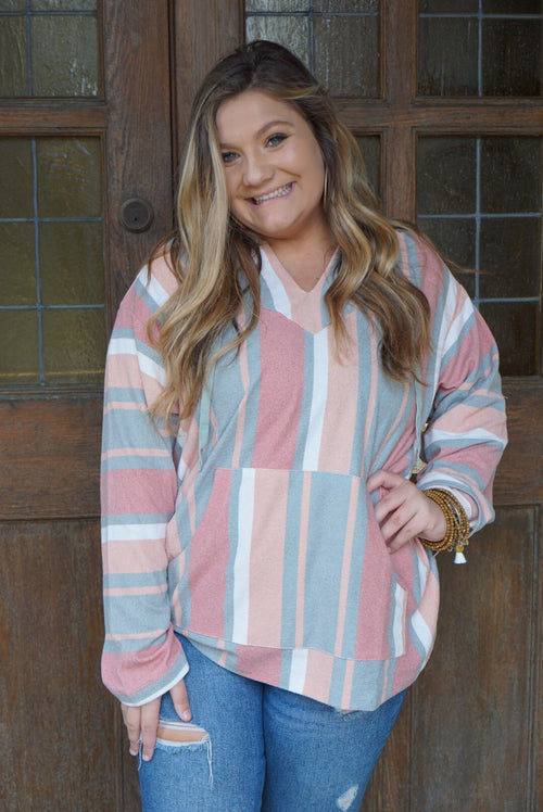 Totally Beachin' Coral Striped Hoodie