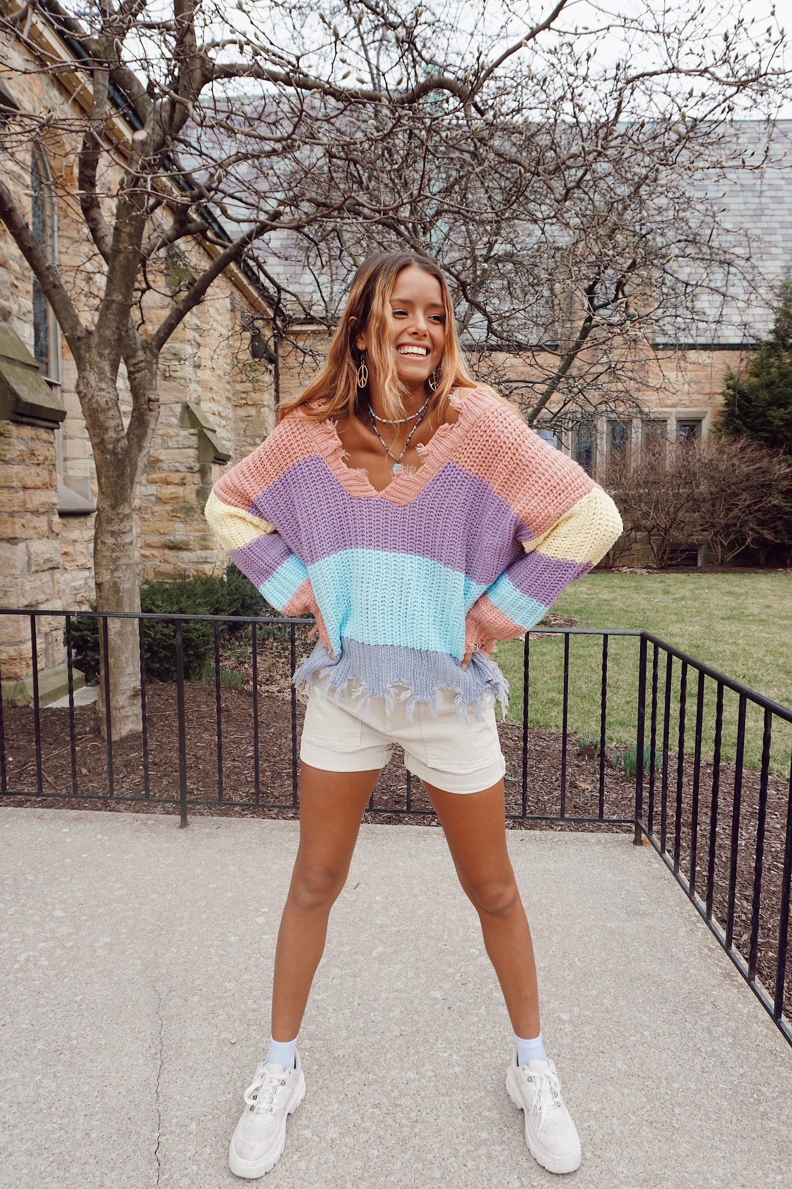Dahlia Lavender Color Block Sweater