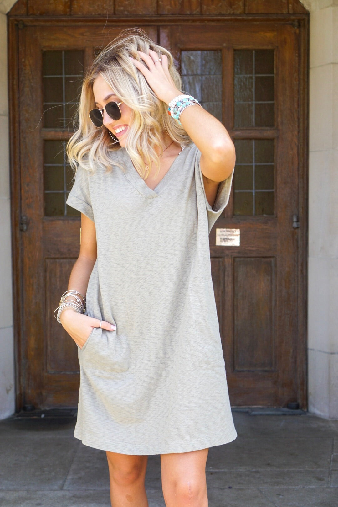 Sage Cuffed T-Shirt Dress