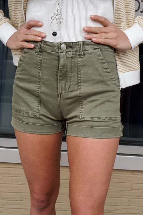 Olive High Rise Twill Shorts