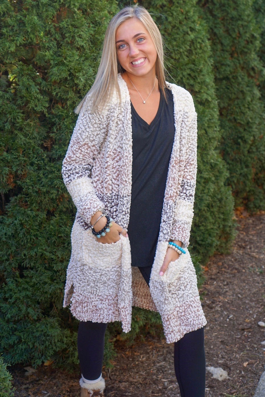 Cozy Vibes Taupe Color Block Cardigan
