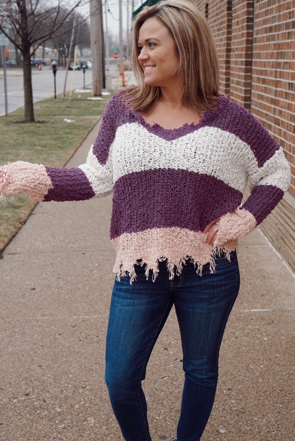 I'm The One Lilac Textured Destroyed Sweater