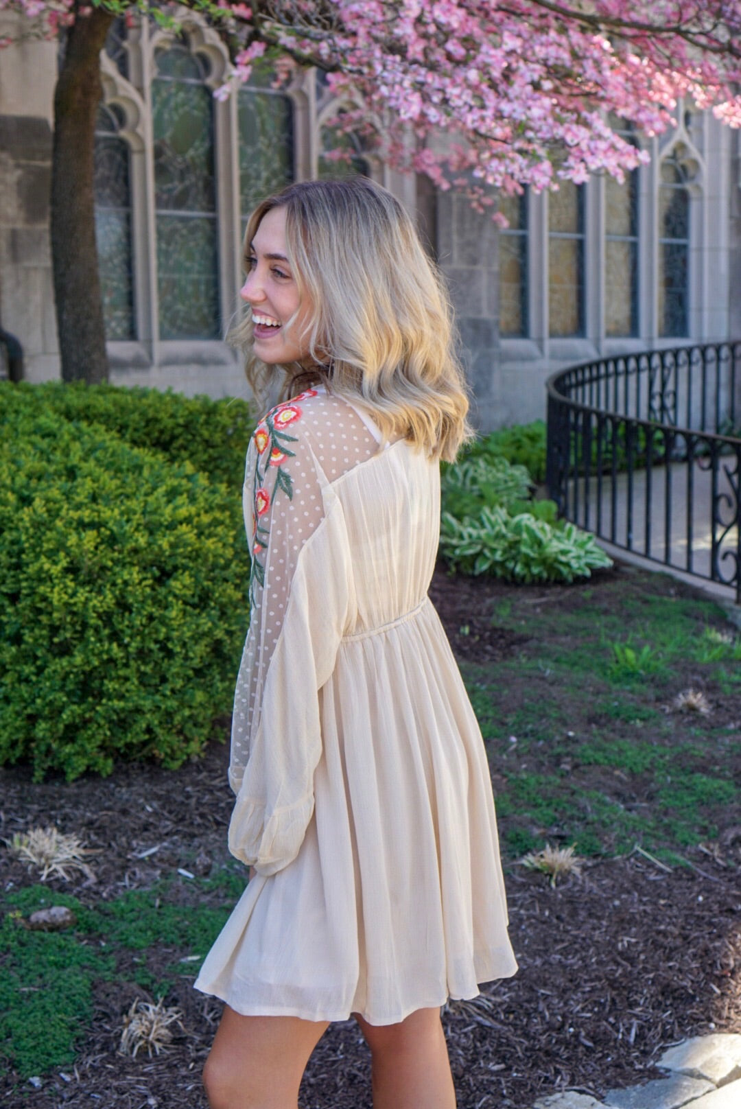 Taupe Floral Dress