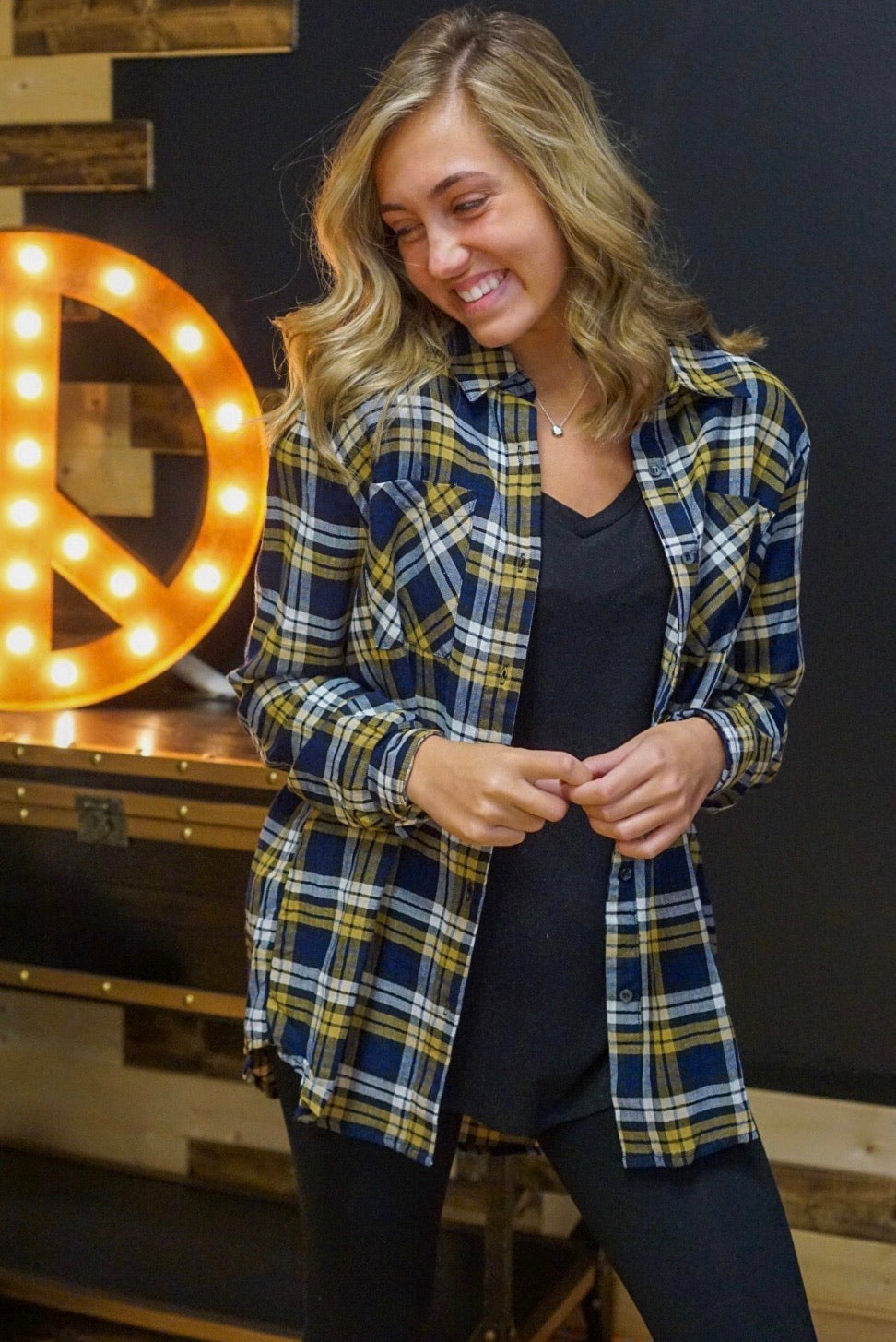Pacific Plaid Mustard Button Down Top
