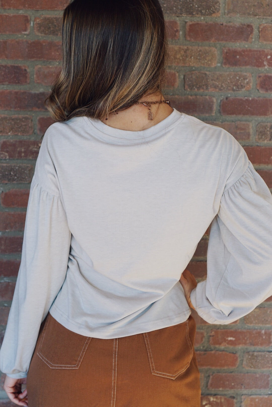 Grey Jersey Peasant Sleeve Top