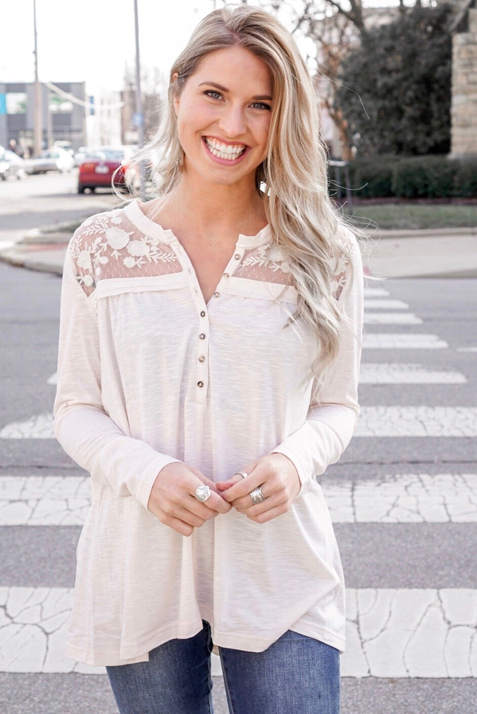 Lace Henley Top