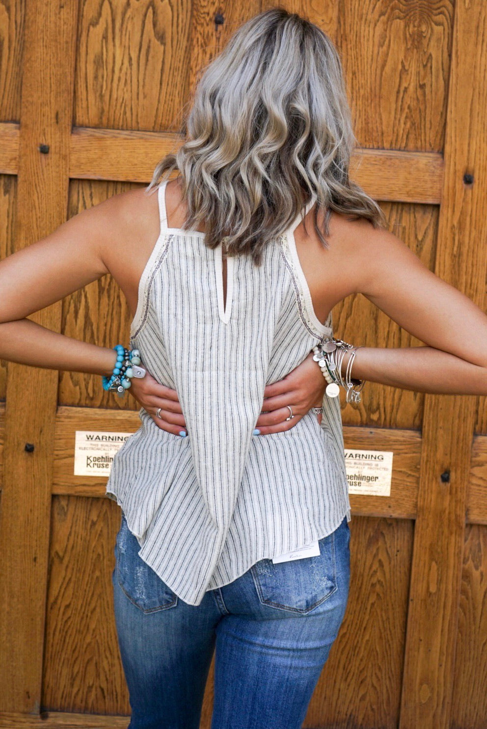 Oatmeal Striped Halter Top