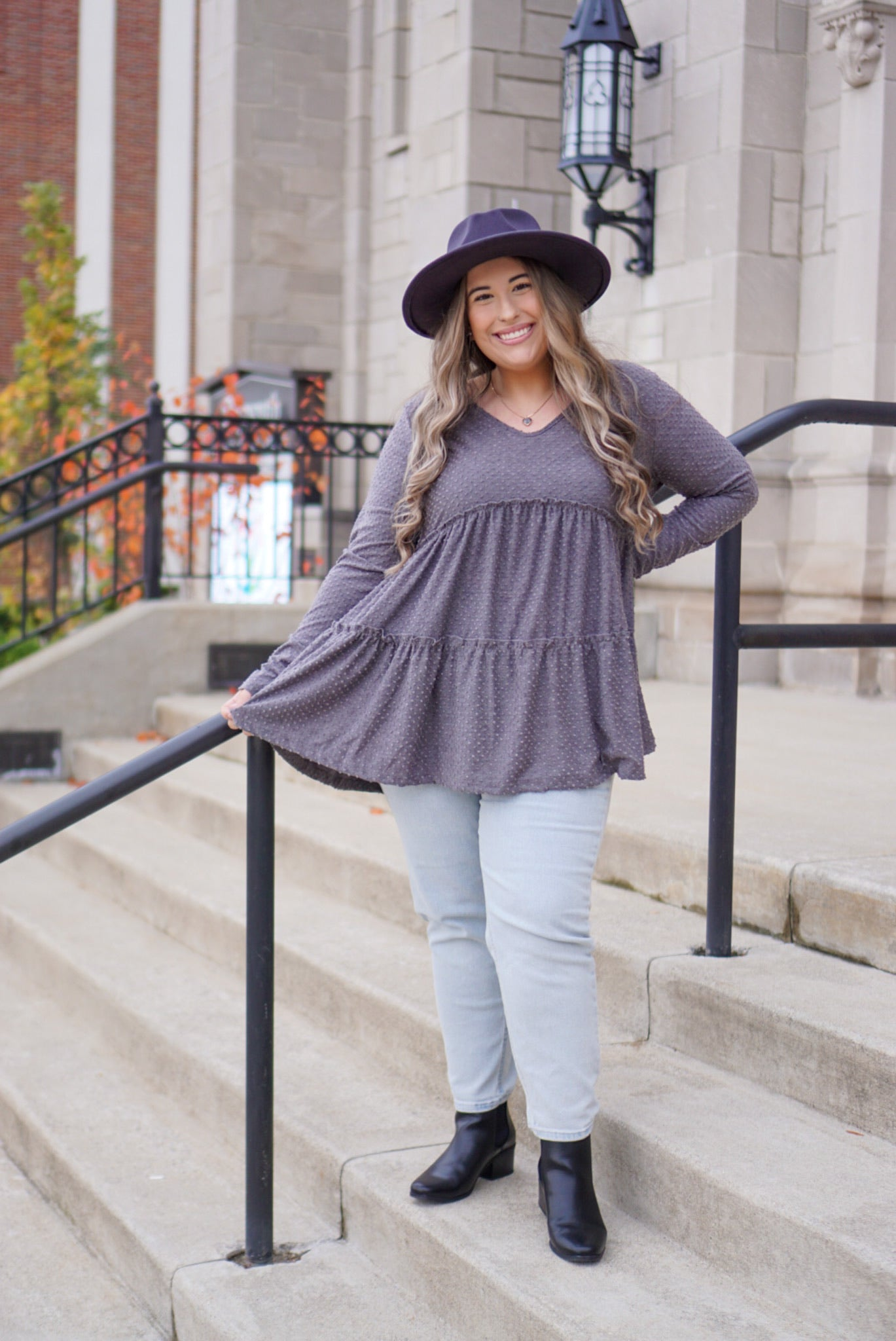 Curvy Be My Baby Charcoal Top
