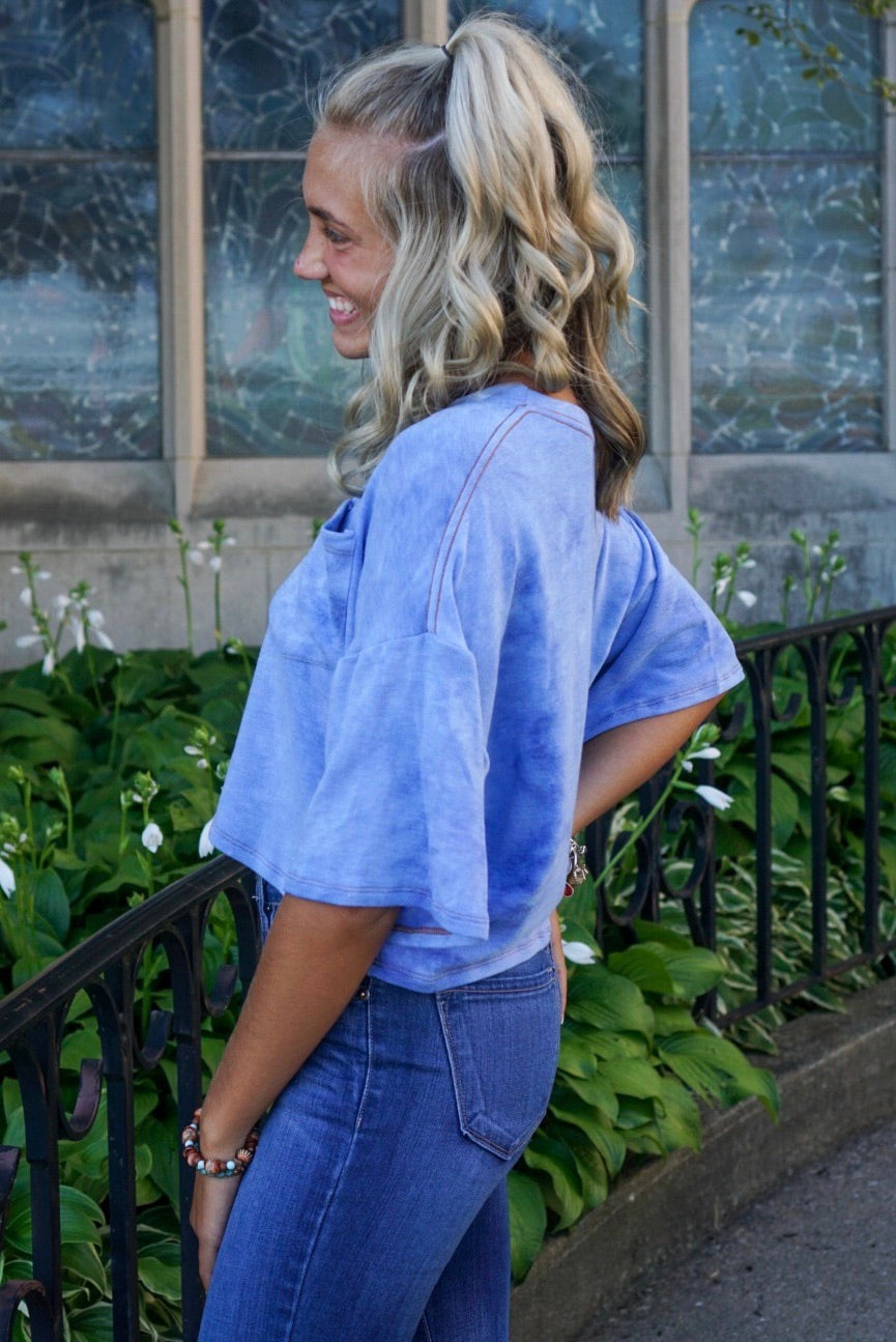 Avery Blue Pocket Top