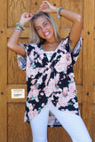 Black Floral Twist Tunic
