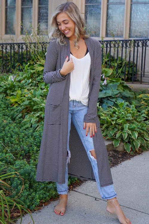 Tayla Black Striped Cardigan