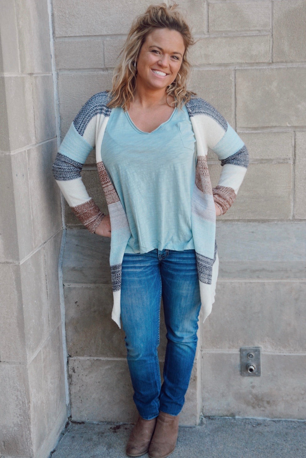 Easy Breezy Ivory Multi Colored Cardigan