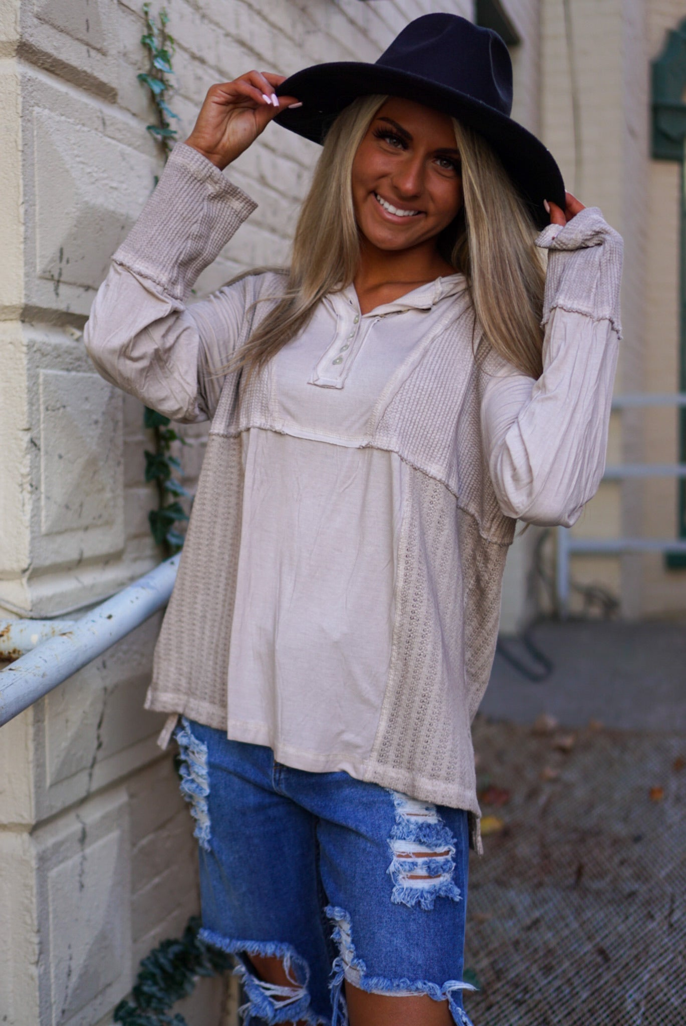 Final Sale- Autumn Leaves Taupe Henley