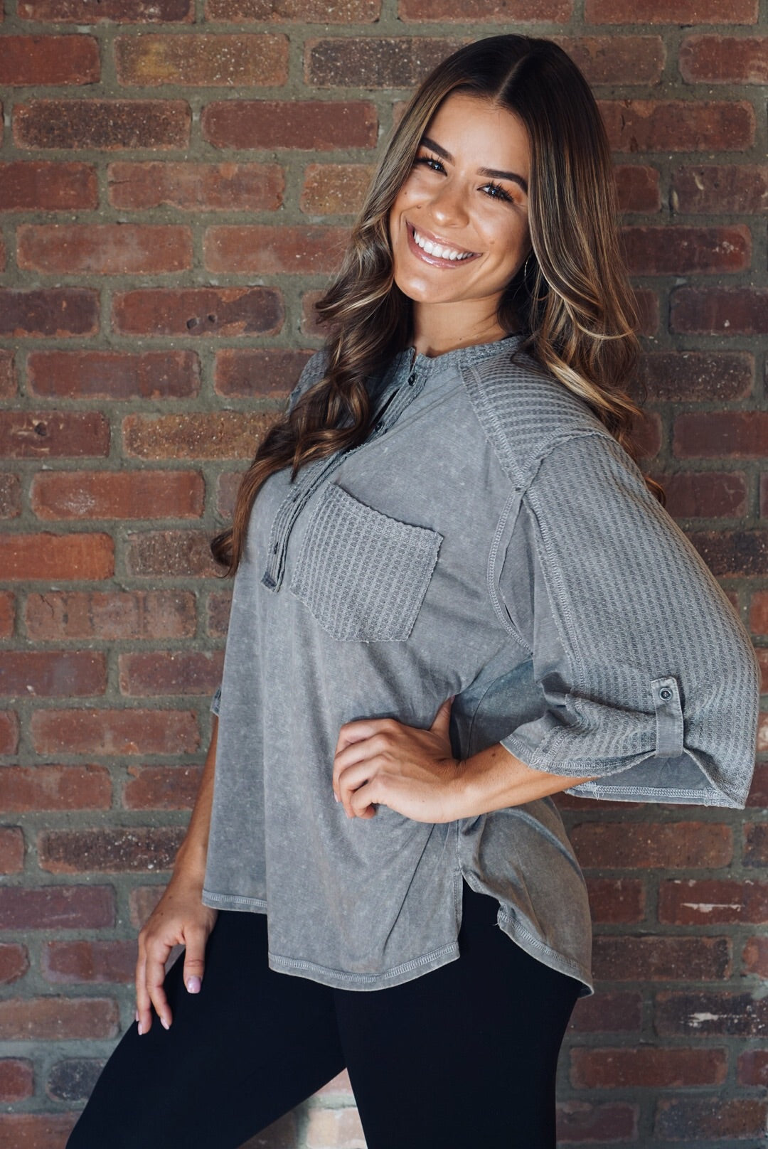 Grey Washed Knit Top