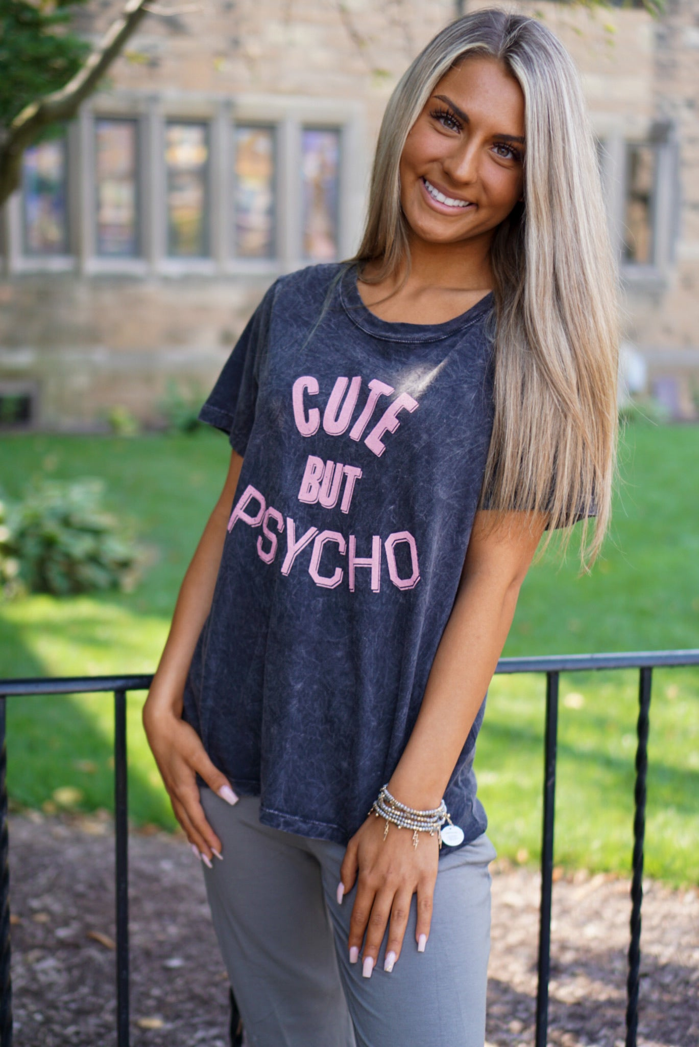 Lowkey Psycho Charcoal Tee