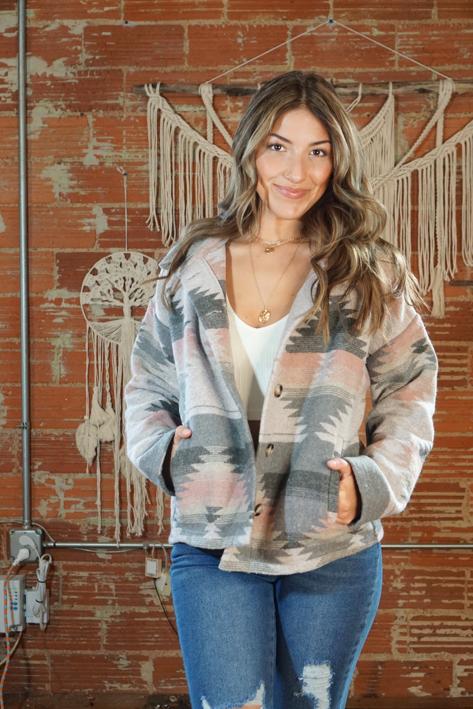 Asheville Grey Aztec Jacket