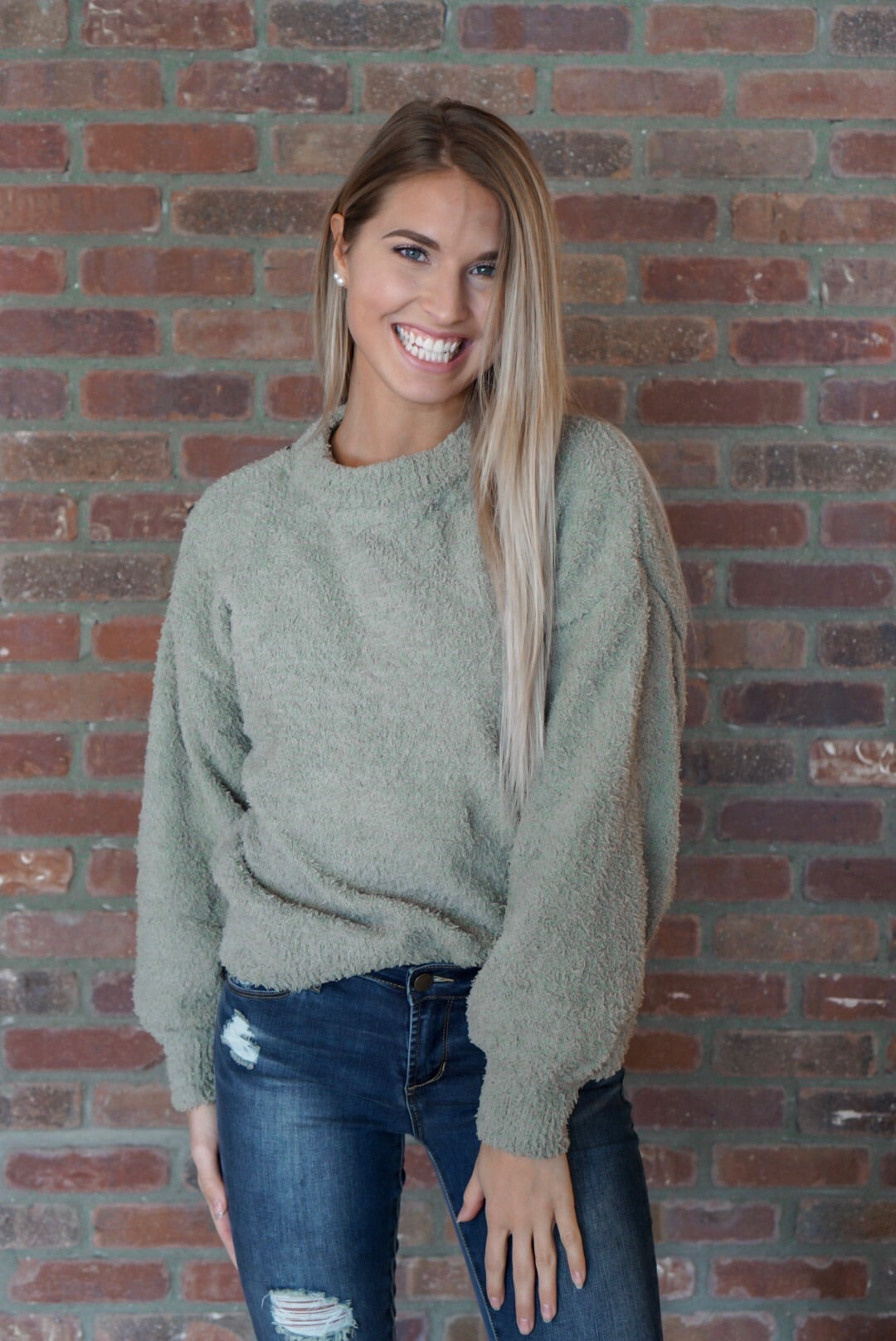 Olive Shearling Yarn Sweater