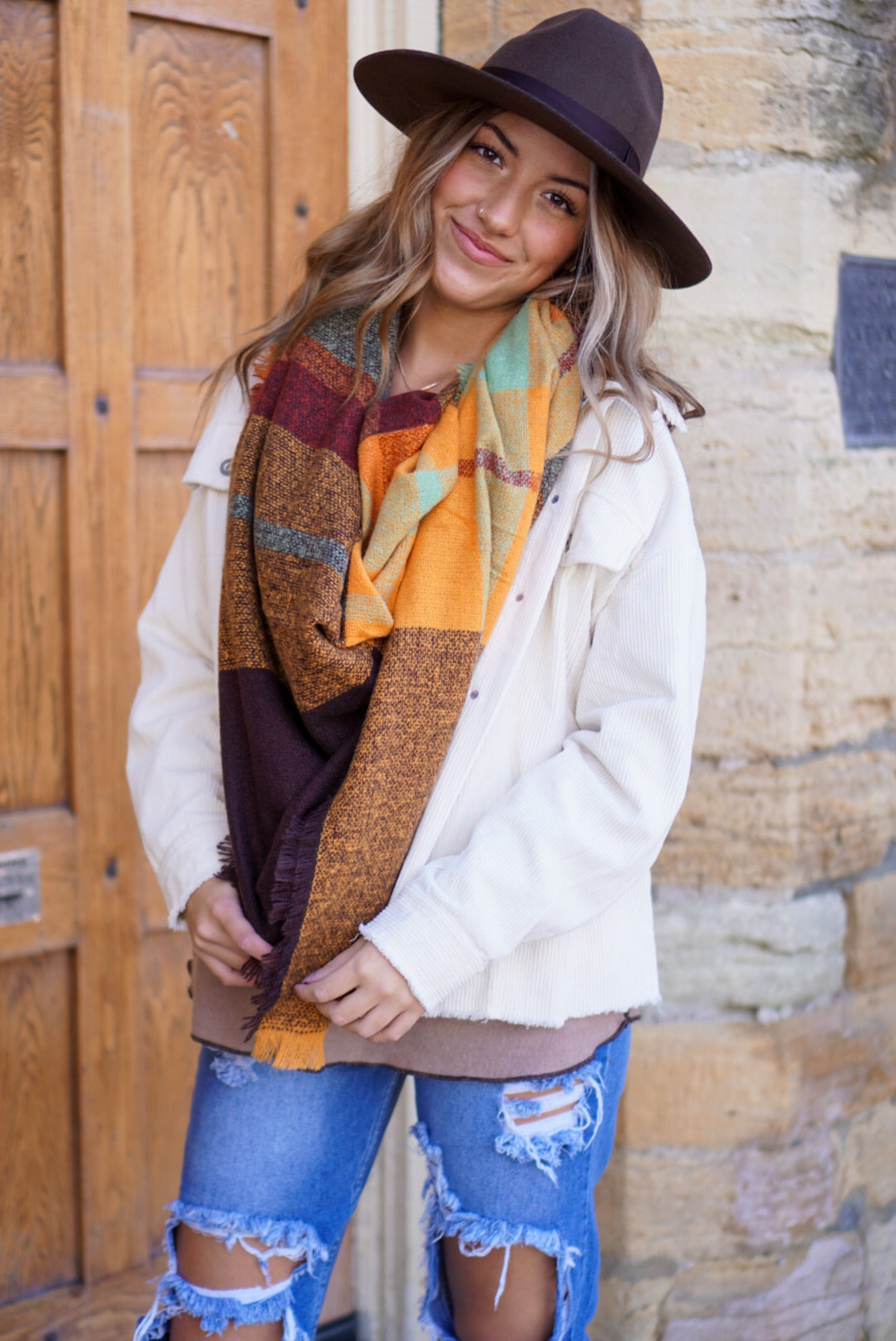 Rust Knit Blanket Scarf