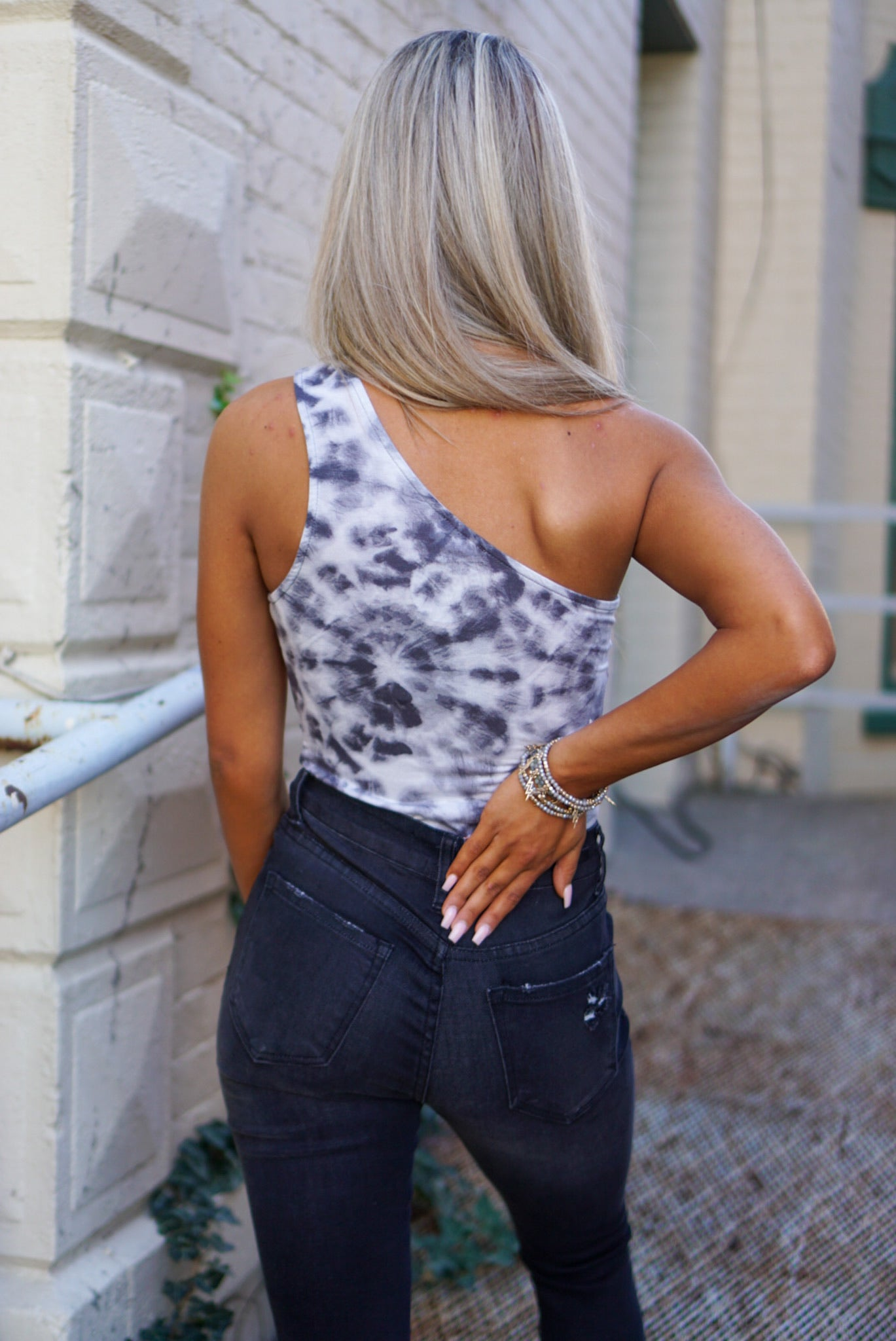 City Vibes Charcoal Tie Dye Bodysuit