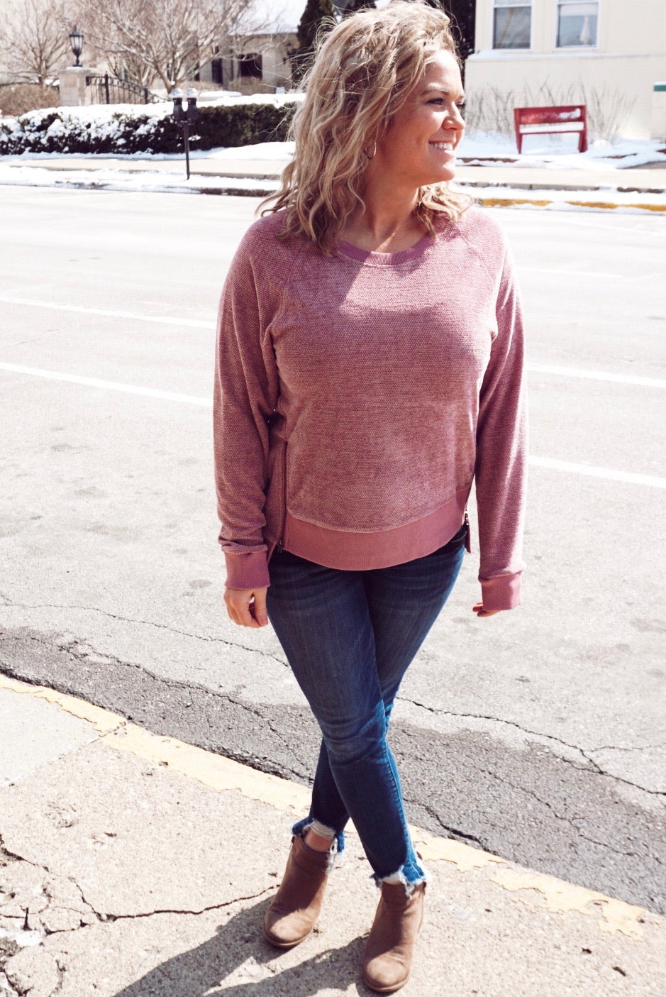 Crystal Cove Mauve Textured Pullover