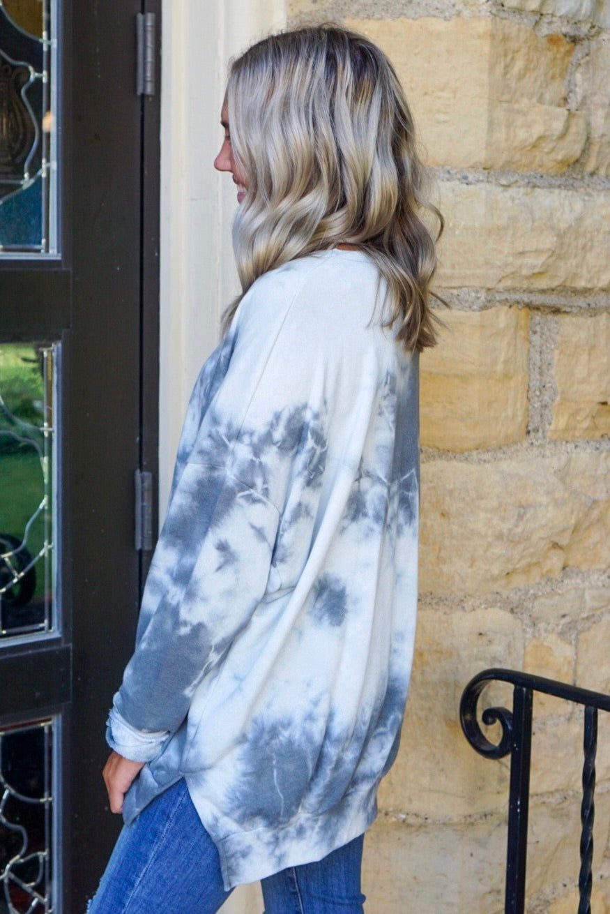 Fawn Grey Tie Dye Top