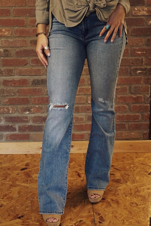 Mid Rise Distressed Bootcut Jeans