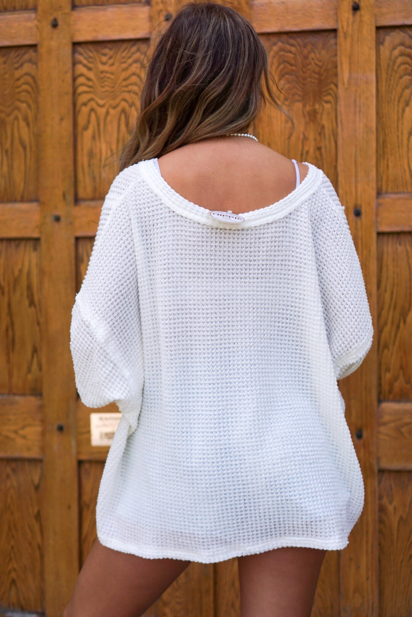 Last Kiss White Waffle Knit Top