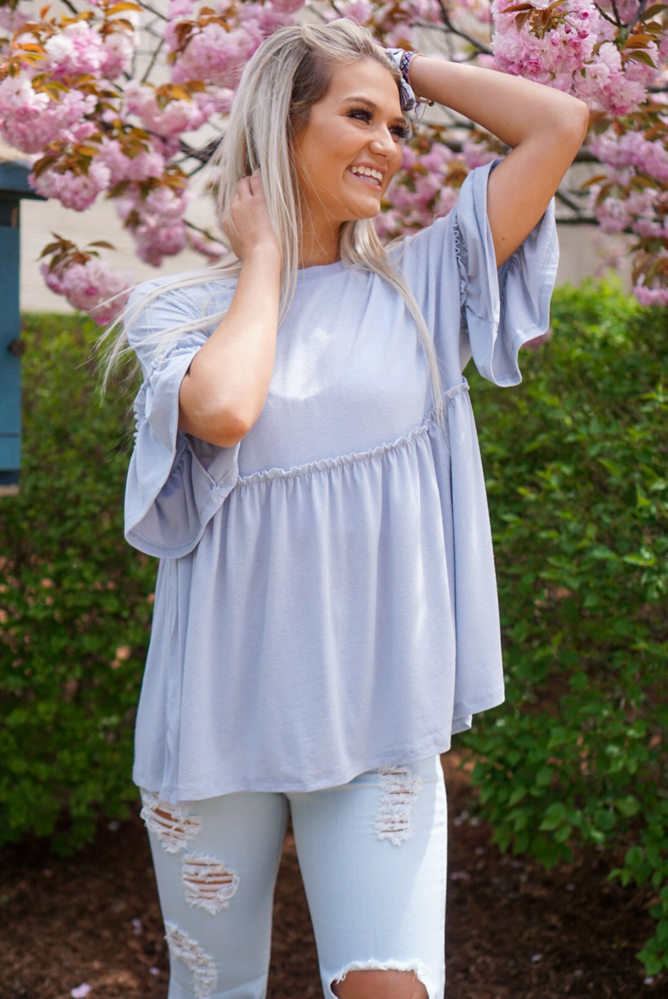 It Takes Two Blue Babydoll Top
