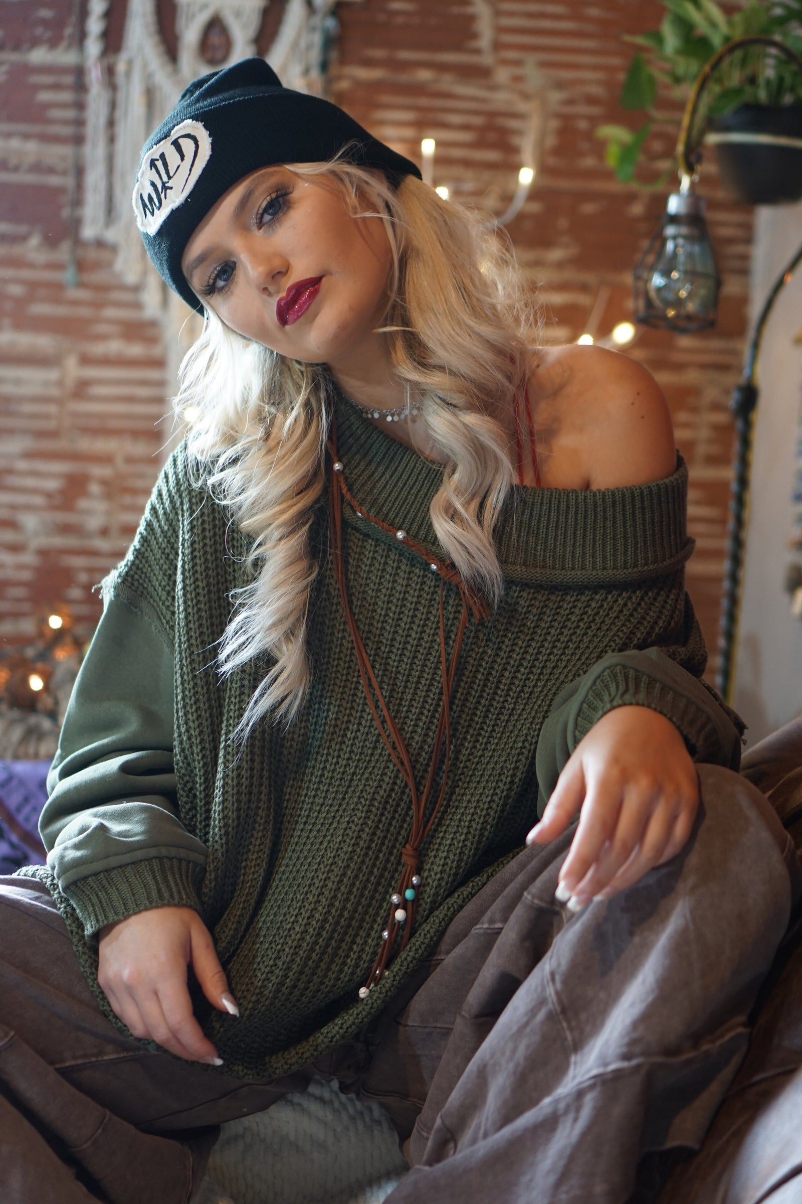 Home For The Holidays Olive Sweater