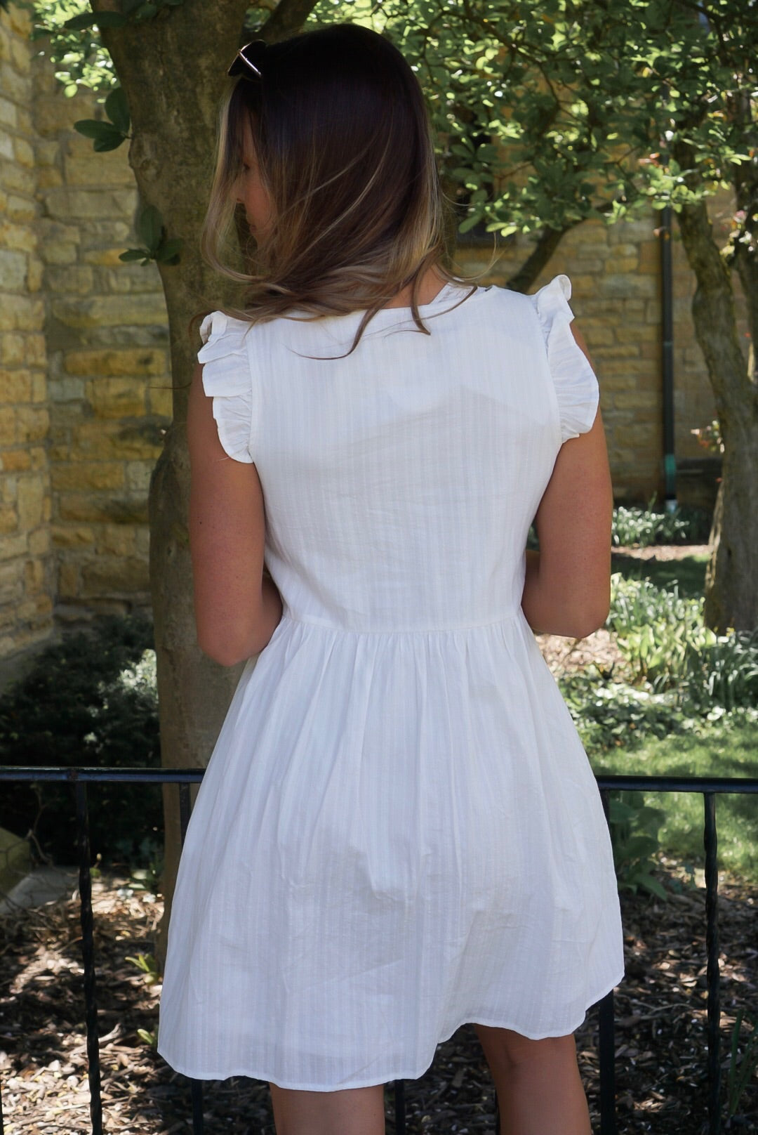 Ivory Ruffle Sleeve Dress
