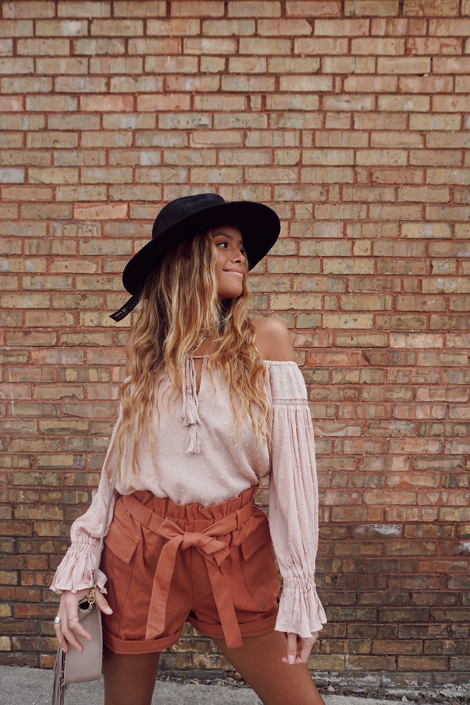 Talk Nice To Me Latte Textured Blouse