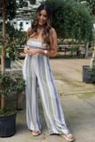 Ivory/Blue Strapless Jumpsuit