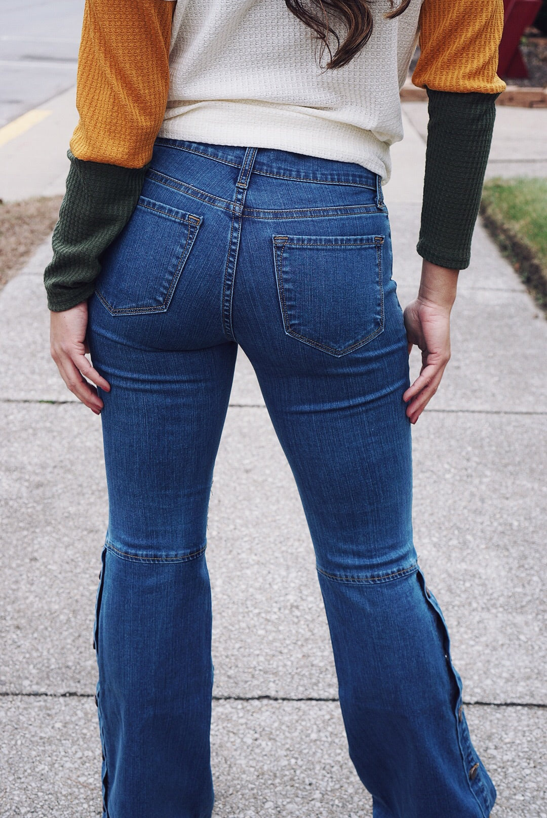 Throwback Snap Bell Bottom Jeans