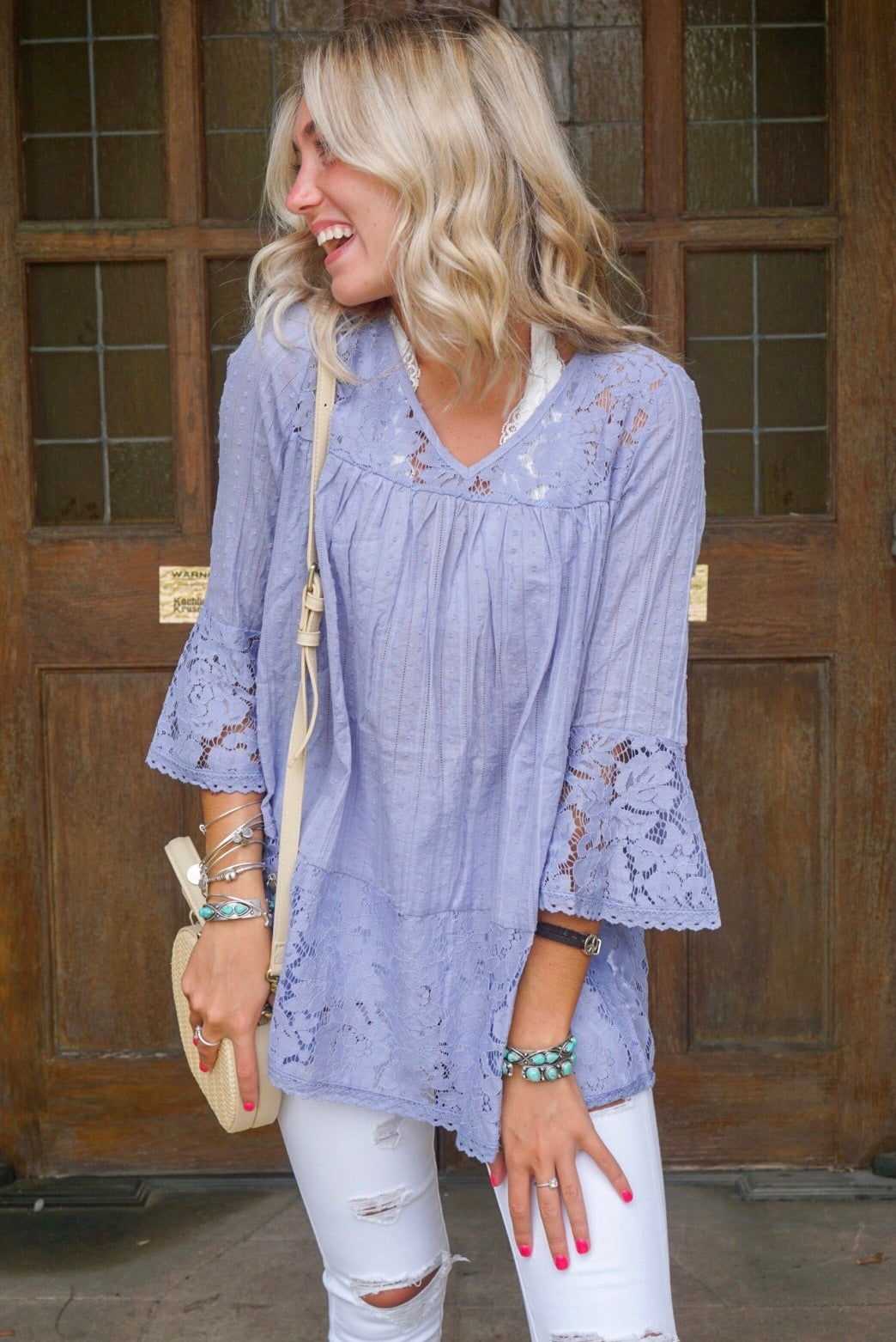Blue Textured Lace Top